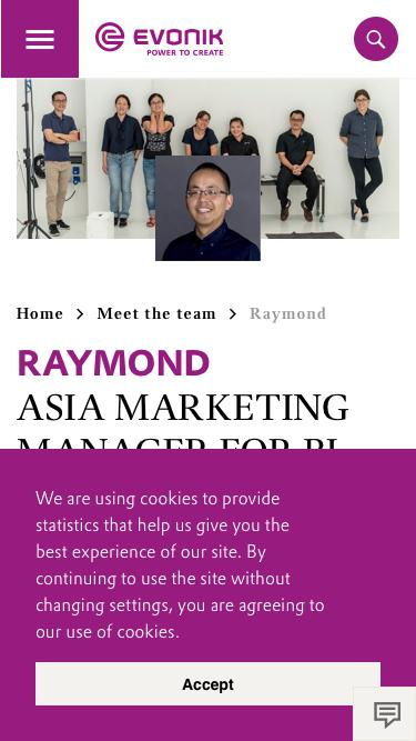 Screenshot of Team Page  evonik.com - Raymond                                                                - Evonik Careers