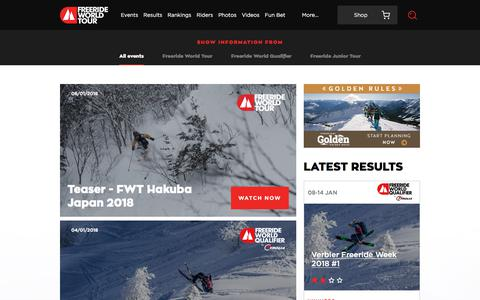Screenshot of Home Page freerideworldtour.com - Freeride World Tour | Home - captured Jan. 11, 2018