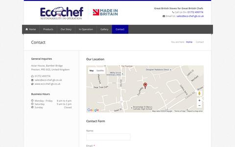 Screenshot of Contact Page eco-chef-gb.co.uk - Eco Chef | Ech Chef i | Bespoke British made cooking suite - captured May 22, 2016