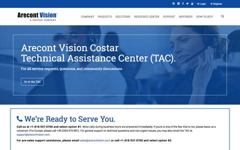 Screenshot of Support Page arecontvision.com - Arecont Vision Support - captured July 14, 2019