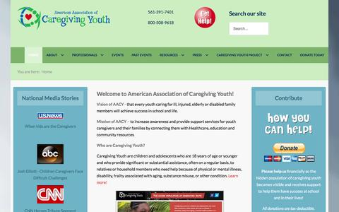 Screenshot of Home Page aacy.org - American Association of Caregiving Youth - captured Feb. 6, 2016