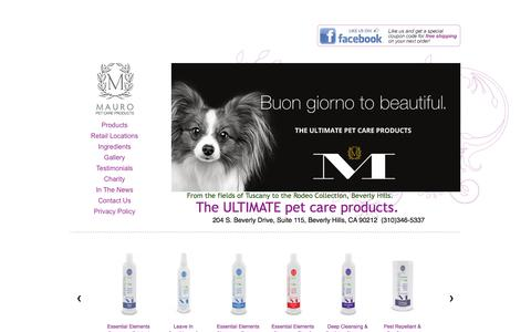 Screenshot of Home Page mauropetcare.com - Home page - Mauro Pet Care: From the fields of Tuscany to Rodeo Drive - captured Nov. 27, 2016