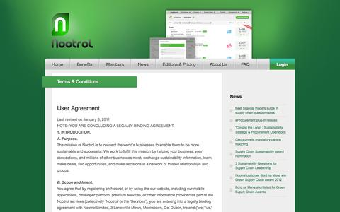 Screenshot of Terms Page nootrol.com - Terms & Conditions | Nootrol - captured Oct. 7, 2014