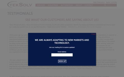 Screenshot of Testimonials Page teksolv.com - Testimonials - TekSolv: One Company, Many Solutions - captured Dec. 8, 2018