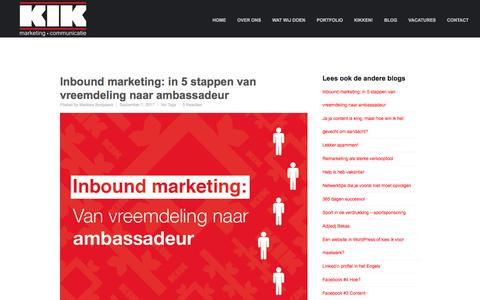 Screenshot of Blog kikmc.nl - Blog KIK Marketing en Communicatie - captured Oct. 16, 2017