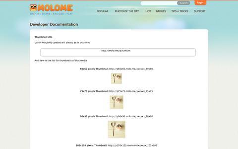 Screenshot of Developers Page molome.com - MOLOME™ - captured Sept. 16, 2014