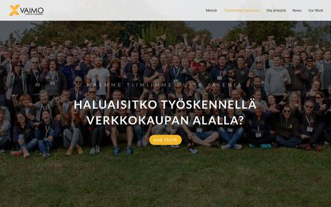 Screenshot of Jobs Page vaimo.fi - Available Positions at Vaimo - Careers in Development, eCommerce - captured Oct. 2, 2018