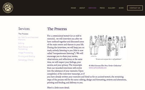 Screenshot of Services Page modernmemoirs.com - The Process — Modern Memoirs, Inc. - captured June 12, 2017