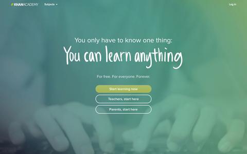 Screenshot of Home Page khanacademy.org - Khan Academy - captured Jan. 15, 2015