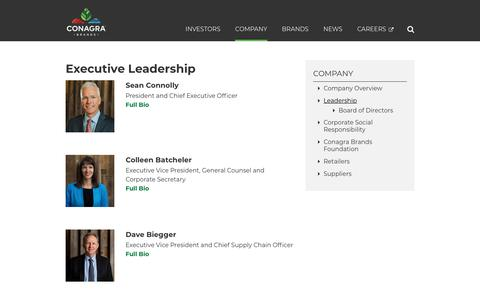 Screenshot of Team Page conagrabrands.com - Company Leadership | Conagra Brands - captured Jan. 16, 2019