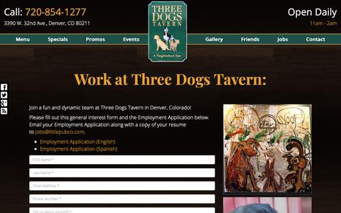 Screenshot of Jobs Page threedogstavern.com - Employment at Three Dogs Tavern - captured Oct. 24, 2018