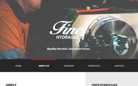 Screenshot of About Page finerhydraulics.com.au - ABOUT US     Finer Hydraulics - captured Feb. 10, 2016