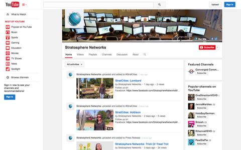 Screenshot of YouTube Page youtube.com - Stratosphere Networks  - YouTube - captured Oct. 26, 2014