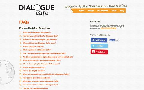 Screenshot of FAQ Page dialoguecafe.org - Dialogue Café | FAQs - captured Sept. 30, 2014