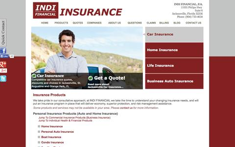 Screenshot of Products Page indifinancial.com - Insurance Products - INDI FINANCIAL, P.A. - Jacksonville, Florida 32256 - captured Oct. 3, 2014