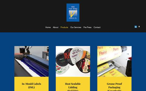 Screenshot of Products Page vandykepress.com.au - | The Van Dyke Press | In Mould Labels and Heat-Sealable Lidding - captured Nov. 16, 2018