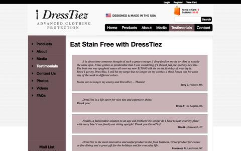 Screenshot of Testimonials Page dresstiez.com - DressTiez - Protecting Your Clothes with Style - captured Oct. 26, 2014