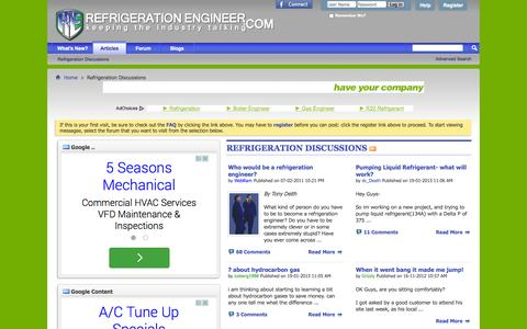 Screenshot of Home Page refrigeration-engineer.com - Refrigeration-Engineer.com forums - The Front Page - captured Sept. 19, 2014