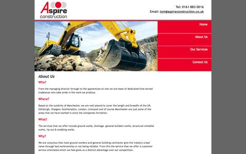 Screenshot of About Page aspireconstruction.co.uk - Aspire Construction | Oldham | North West - captured Sept. 30, 2014