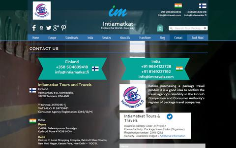 Screenshot of Contact Page intiamatkat.fi - Contact Us - captured June 8, 2017