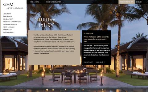 Screenshot of Home Page ghmhotels.com - Luxury Hotels, 5 Star Resorts, Boutique Hotels & Luxury Resorts by GHM - captured Sept. 22, 2014