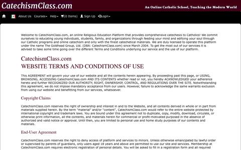 Screenshot of Terms Page catechismclass.com - Terms and Conditions of Use - captured Jan. 31, 2016
