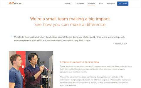 We're a small team making a big impact. See how you can make a difference. - Alation
