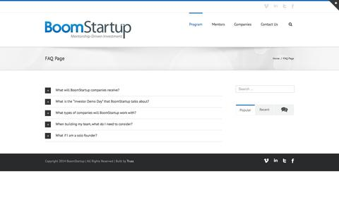 Screenshot of FAQ Page boomstartup.com - Boom Startup   –  FAQ Page - captured Sept. 24, 2014