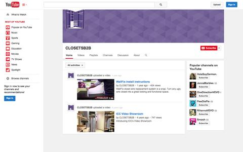 Screenshot of YouTube Page youtube.com - CLOSETSB2B  - YouTube - captured Oct. 25, 2014