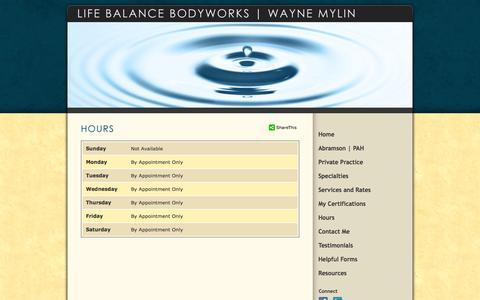 Screenshot of Hours Page lifebalancebodyworks.com - Life Balance Bodyworks  |  Wayne Mylin - captured Sept. 30, 2014