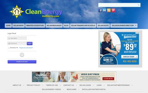 Screenshot of Login Page cleanenergyauthority.com - CleanEnergyAuthority.com - captured Oct. 15, 2015