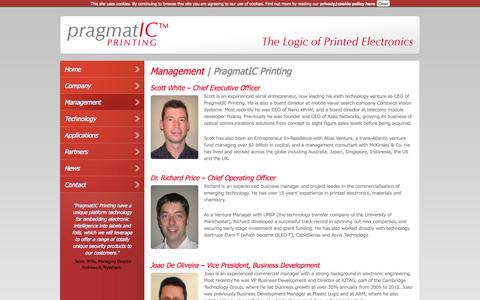 Screenshot of Team Page pragmaticprinting.com - Management | PragmatIC Printing | Cambridge, UK - captured Oct. 2, 2014