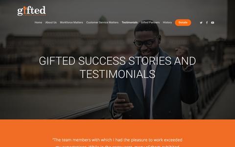 Screenshot of Testimonials Page iamgifted.org - Gifted Success Stories and Testimonials – Gifted - captured Nov. 10, 2018