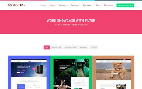 Screenshot of Case Studies Page godigitallab.com - Work Showcase With Filter - Go Digital Lab - captured July 20, 2018