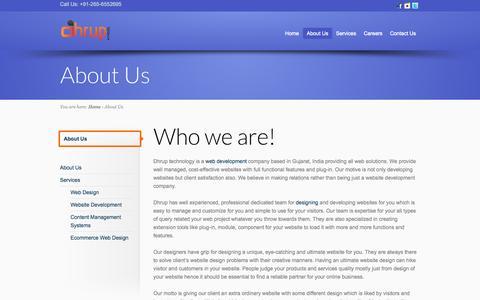 Screenshot of About Page dhrup.com - Web Design Company India, web development, E-commerce Solutions | dhrup.com - captured Oct. 5, 2014