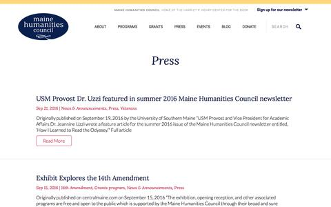 Screenshot of Press Page mainehumanities.org - Press Archives - Maine Humanities CouncilMaine Humanities Council - captured Sept. 26, 2016