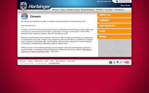 Screenshot of Jobs Page harbingerfitness.com - Careers «  Harbinger Fitness - captured Sept. 23, 2014