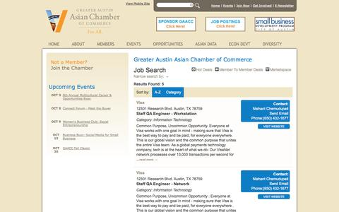 Screenshot of Jobs Page austinasianchamber.org - Job Search - Greater Austin Asian Chamber of Commerce - Greater Austin Asian Chamber of Commerce - captured Oct. 3, 2014