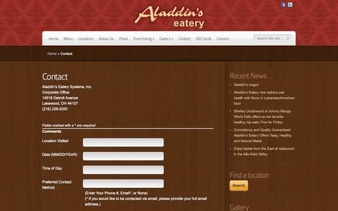 Screenshot of Contact Page aladdinseatery.com - Contact | Aladdin's Eatery - captured Oct. 31, 2014