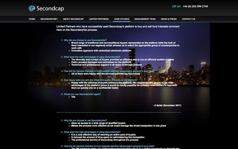 Screenshot of Case Studies Page secondcap.com - Case Studies   Secondcap – Global Online Platform for Secondaries - captured Oct. 4, 2014