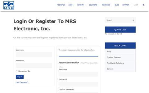 Screenshot of Login Page mrs-electronic.com - Membership Checkout - MRS Electronic Inc - captured July 8, 2018