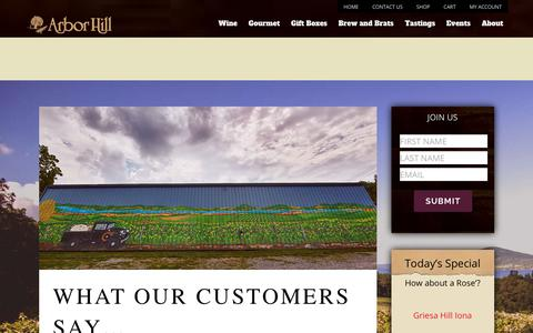 Screenshot of Testimonials Page thegrapery.com - Testimonials | Arbor Hill Winery - captured Oct. 8, 2017