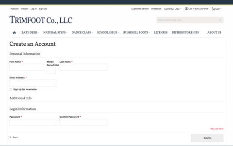 Screenshot of Signup Page trimfootco.com - Create New Customer Account - captured Feb. 25, 2016