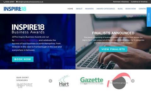 Screenshot of Home Page inspirebusinessawards.co.uk - Business Awards That Celebrate Local Businesses - INSPIRE - captured Oct. 25, 2018