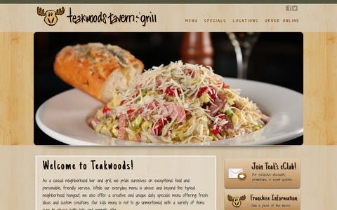 Screenshot of Home Page teakwoodstavern.com captured Dec. 22, 2015