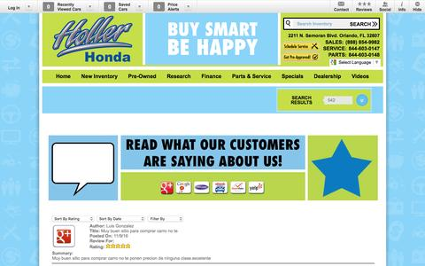 Screenshot of Testimonials Page hollerhonda.com - Holler Honda | New Honda dealership in Orlando, FL 32807 - captured Nov. 11, 2016