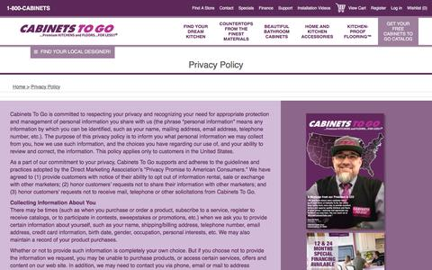 Screenshot of Privacy Page cabinetstogo.com - Cabinets To Go. Privacy Policy - captured July 15, 2018