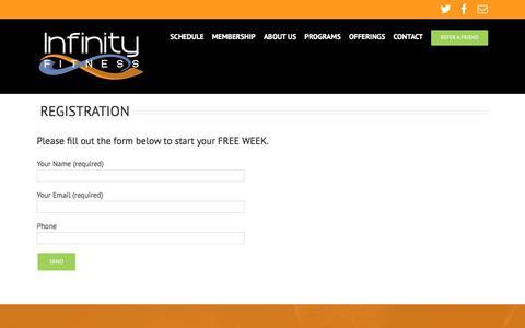 Screenshot of Signup Page Trial Page infinityfitnesscenter.com - REGISTRATION - Infinity Fitness Center - captured Nov. 21, 2017