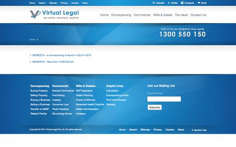 Screenshot of Press Page virtuallegal.com.au - - Virtual Legal - captured Oct. 7, 2014