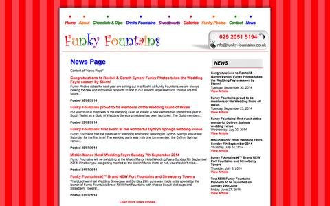 Screenshot of Press Page funky-fountains.co.uk - News - Funky Fountains - THE chocolate fountain company serving South Wales and the South West - captured Oct. 6, 2014